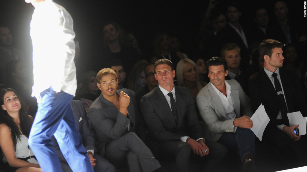"""Twilight"" actor Kellan Lutz, U.S. Olympic swimmer Ryan Lochte and actors Frank Grillo and Daniel Gillies sit in the front row of the Joseph Abboud Spring 2013 fashion show."