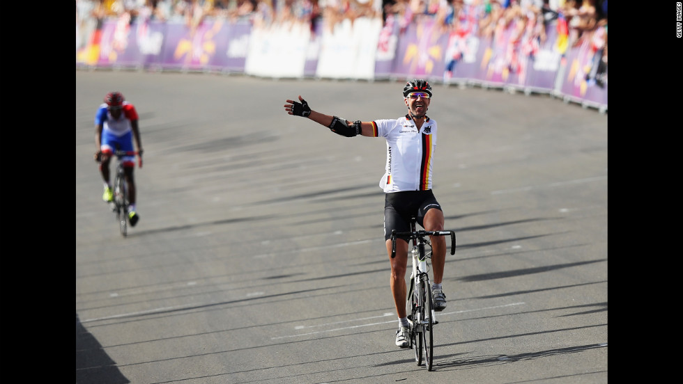 Wolfgang Sacher of Germany crosses the finish line in the men's individual C 4-5 road race Thursday.