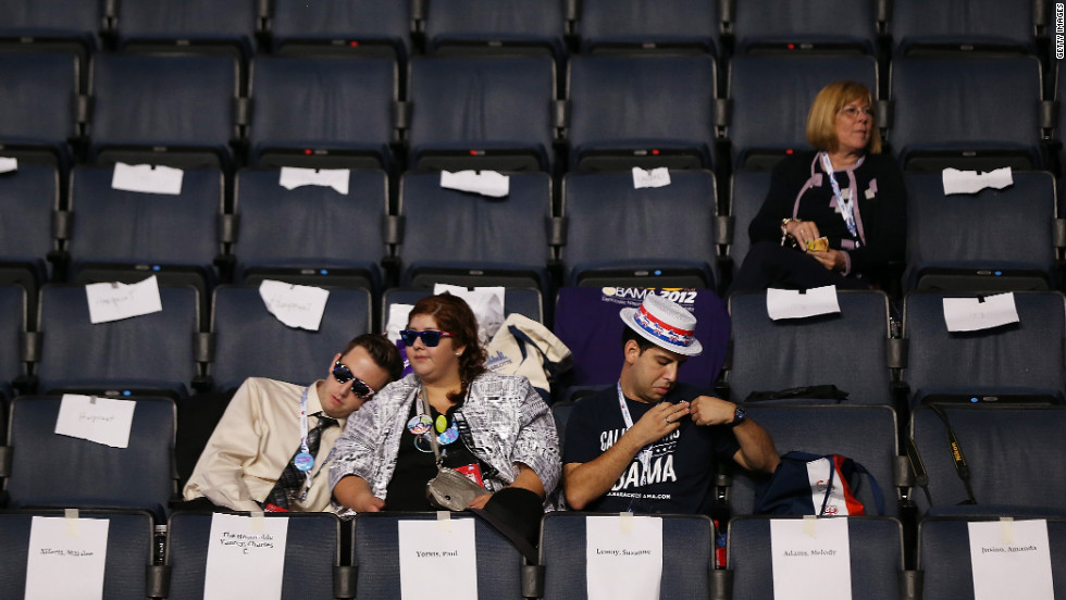 People in the stands wait for the start of the third day of the Democratic National Convention on Thursday.