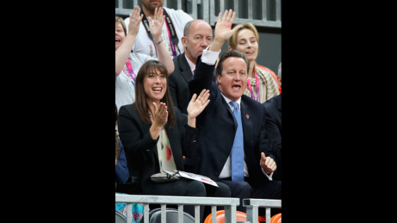 Samantha Cameron and David Cameron watch Great Britain play France during a Paralympic wheelchair rugby match on Thursday.