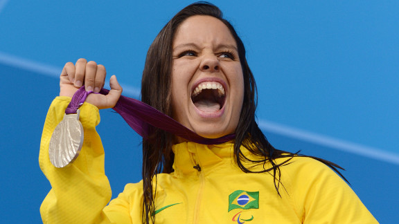 Silver medallist Edenia Garcia of Brazil poses on the podium during the medal ceremony for the women