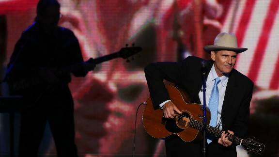 Musician James Taylor performs at the convention on Thursday.