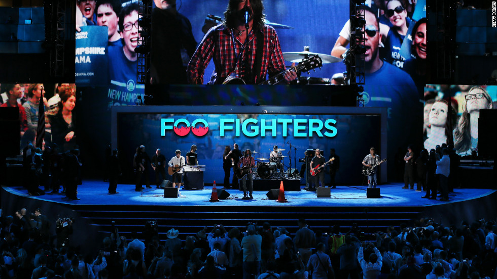 Musican Dave Grohl of the Foo Fighters performs for a soundcheck at Time Warner Center on September 6, 2012. Foo Fighters performed after Beau Biden, Delaware's attorney general, nominated his father, Vice President Joe Biden, for vice president.