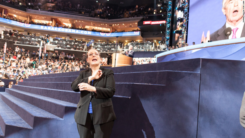 Sign language interpreter Martha Ingel on the floor of the Democratic convention on Thursday.