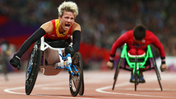 Marieke Vervoort of Belgium reacts as she wins gold in the women