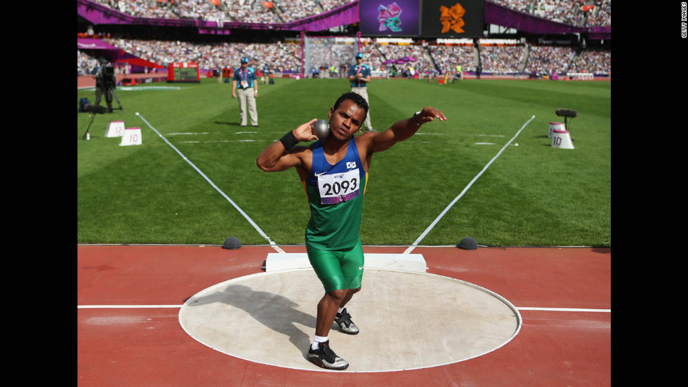 Jonathan De Souza Santos of Brazil competes in the men's shot put - F40 on Thursday.