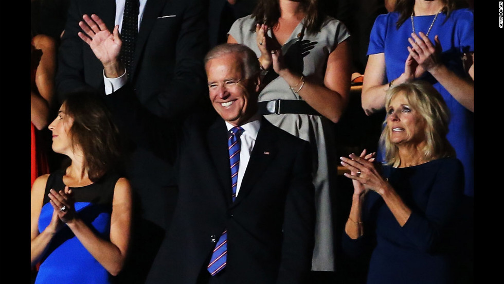 Vice President Joe Biden waves as he stands with his wife Jill Biden and family after being nominated on Thursday.