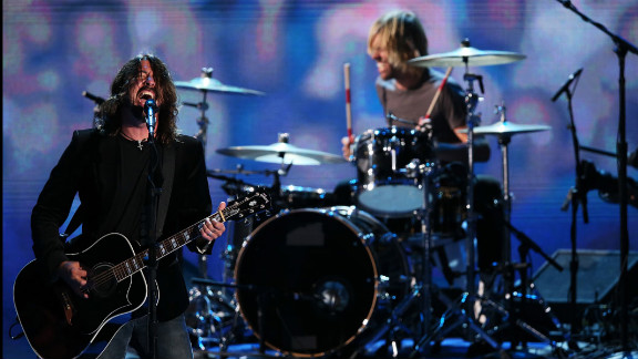 Musican Dave Grohl of the Foo Fighters performs during the final day of the Democratic National Convention on Thursday.