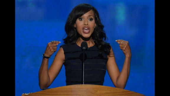 Actress Kerry Washington speaks to delegates on Thursday.
