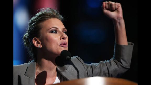 Actress Scarlett Johansson addresses delegates on Thursday.