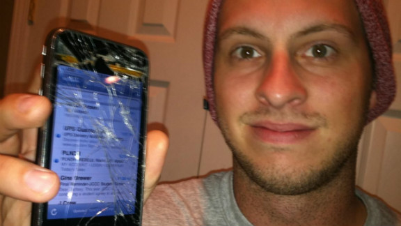 Zach Hasty tells CNN iReport his broken phone was a great ice-breaker at bars.