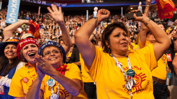 Delegates from New Mexico are seen on the floor of the convention on Thursday.