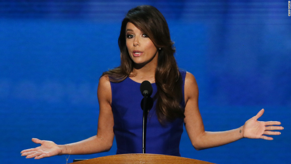 Actress Eva Longoria speaks at the DNC on Thursday.