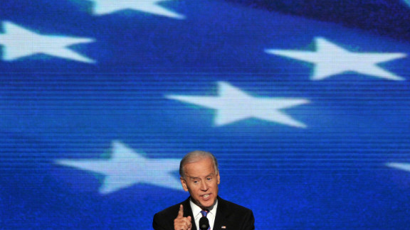 Vice President Joe Biden gives his acceptance speech to run for a second term on Thursday.