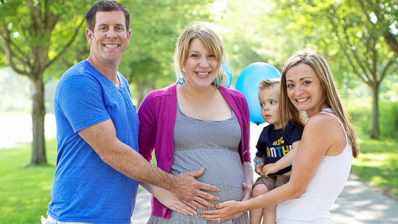James and Natalie Lucich and their son, Hunter, support surrogate mother Tiffany Burke as she struggles with nausea and the difficulties of pregnancy.
