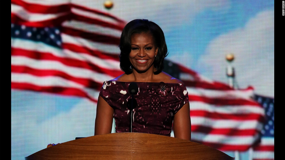 First lady Michelle Obama introduces her husband on Thursday. She gave a full speech on Tuesday night.