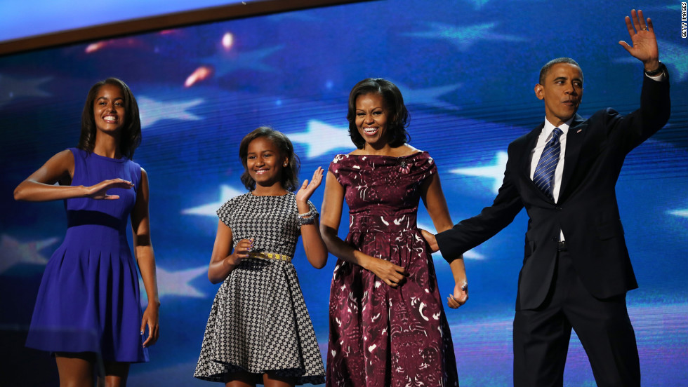 "The Obama family takes to the stage as the gathering draws to a close on Thursday, September 6, the final day of the Democratic National Convention in Charlotte, North Carolina. <a href=""http://www.cnn.com/2012/08/27/politics/gallery/best-of-rnc/index.html"" target=""_blank"">See the best photos from the Republican National Convention. </a>"