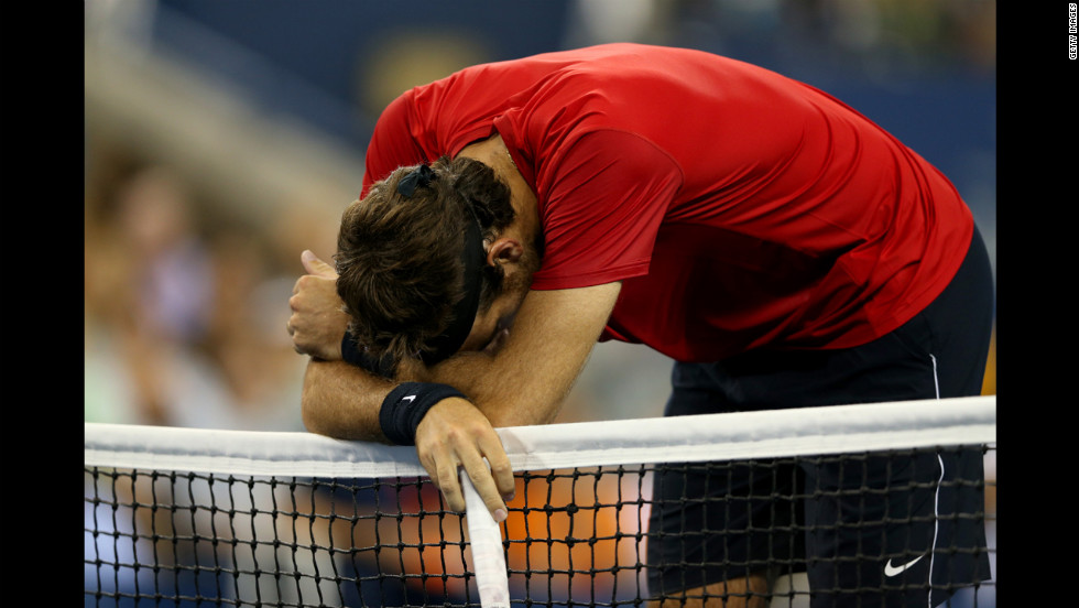 Juan Martin del Potro reacts at the net on Thursday.