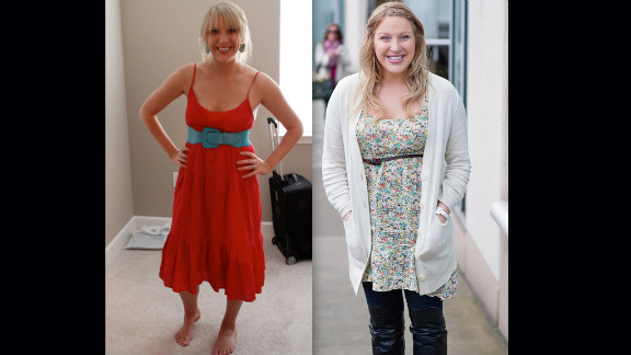 """Burke shows off her dramatic weight change due to the fertility hormones. """"This photo on the left is my body before medications at 150 lbs, and then second photo was taken the day of the second transfer, just a few weeks ago at around 180 lbs (give or take an embryo),"""" she wrote on the blog."""