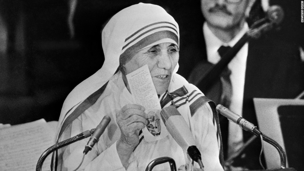 Mother Teresa delivers a speech after receiving her Nobel Peace Prize on December 10, 1979, in Oslo, Norway.