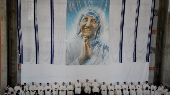 Kosovo Albanian Catholics attend a religious service at the Blessed Mother Teresa Cathedral in Pristina on September 5, 2012, to mark the 15th anniversary of her death.
