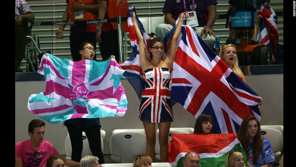 Great Britain fans cheer on their athletes on Friday.