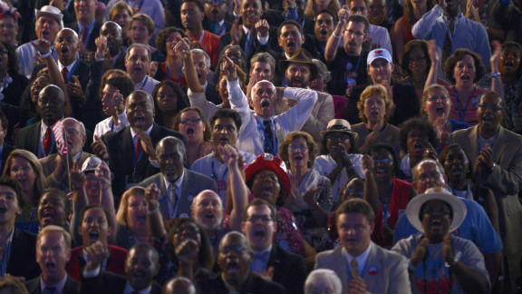 Crowds react to a speech at the Time Warner Cable Arena in Charlotte, North Carolina, on Thursday.