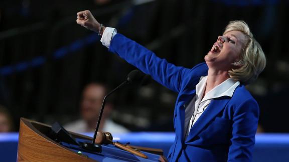 Former Michigan Gov. Jennifer Granholm gestures during her speech on Thursday.