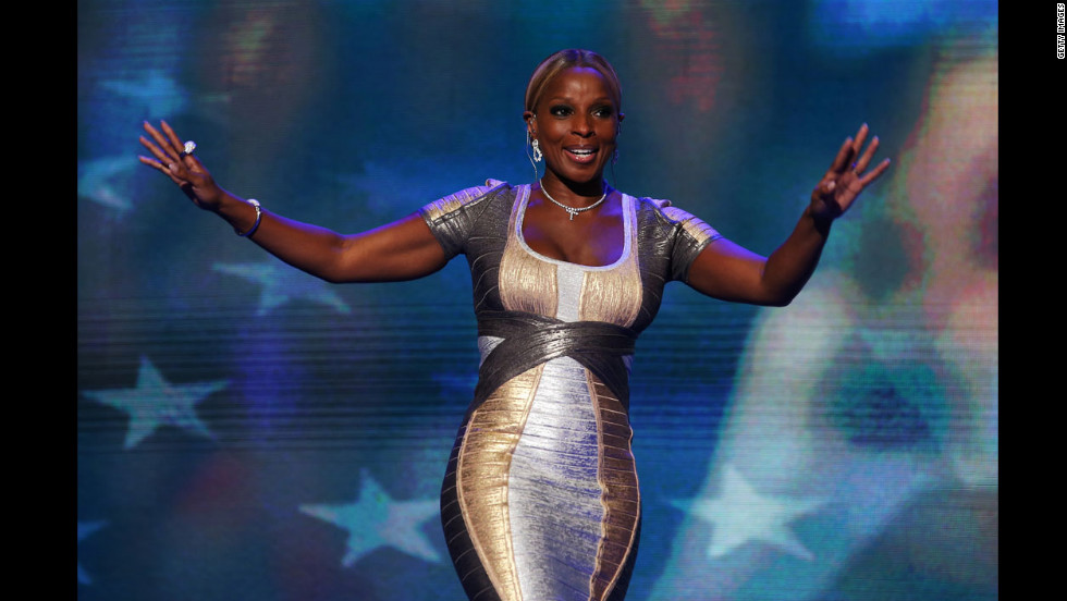 Singer Mary J. Blige walks on stage on Thursday.