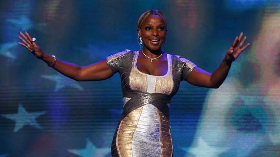 Singer Mary J. Blige walks on stage on Thursday.