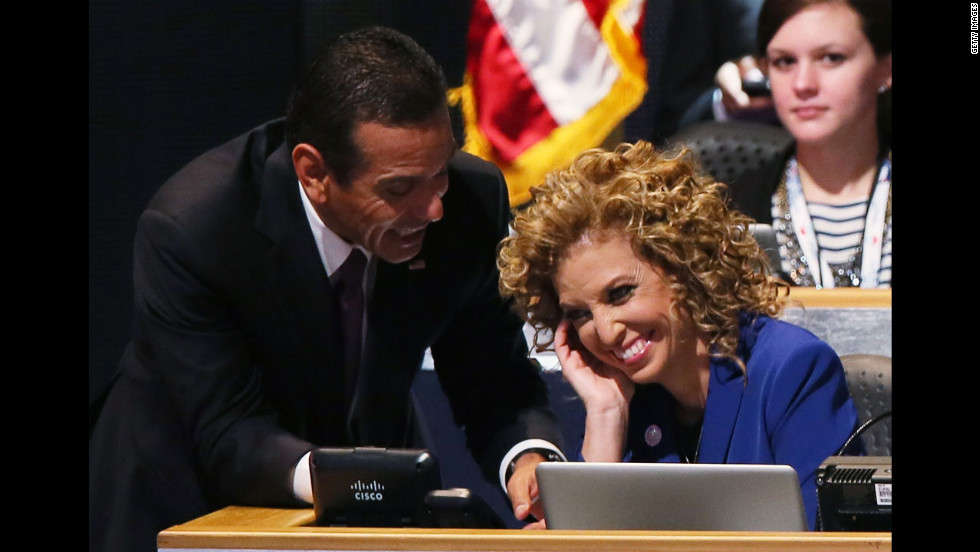 DNC Chair and Los Angeles Mayor Antonio Villaraigosa, left, talks with Democratic National Committee Chair and Florida Rep. Debbie Wasserman Schultz on Thursday.