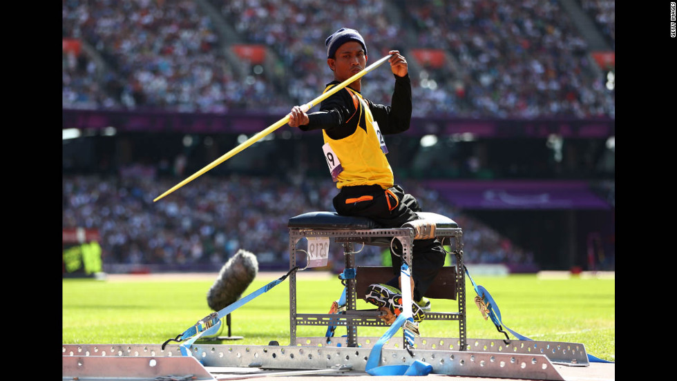 Faridul Bin Masri of Malaysia competes in the men's javelin throw final on Saturday.
