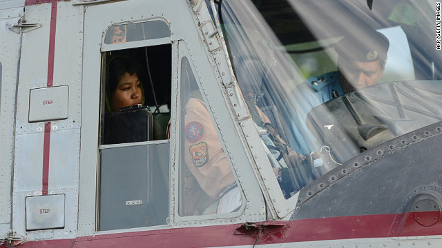 Rimsha Masih, a Christian girl accused of blasphemy sits in helicopter after her release from jail in Rawalpindi.