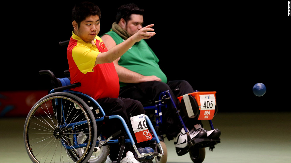 China's Yuansen Zheng tosses the ball during Saturday's Individual BC4 boccia gold medal match against Brazilian Dirceu Jose Pinto.
