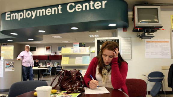 Brittney Nance fills out an application for food stamps in 2009 in California after she and her husband and children were evicted.