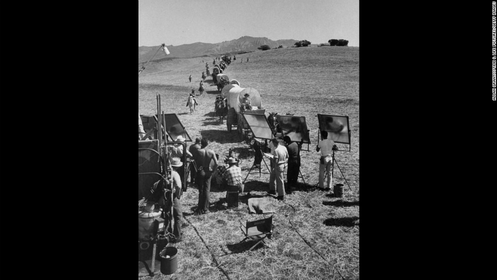"A scene from the TV show ""Wagon Train."""