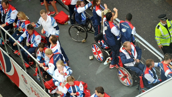 Members of Paralympic GB atop one of the floats.