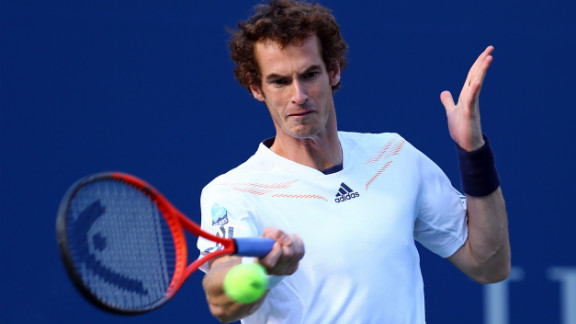 Andy Murray of Great Britain returns a shot during his men