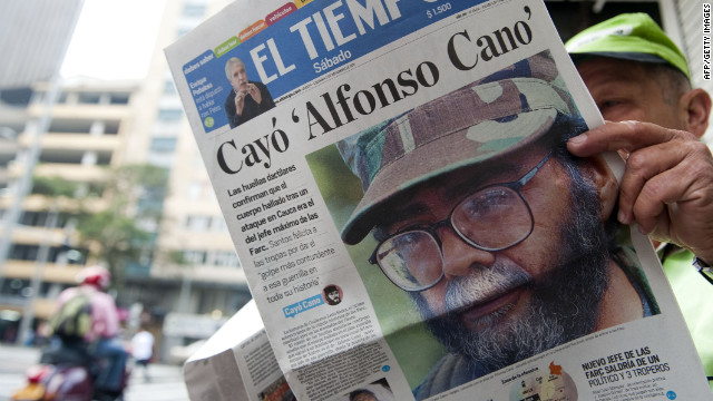 A man at a newsstand n Medellin, Colombia, reads about the death of the leader of FARC last year.