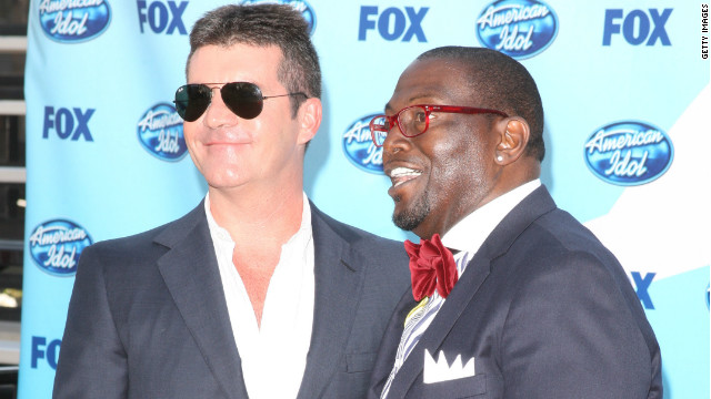 "Simon Cowell and Randy Jackson are shown at the ""American Idol"" finale in 2009 in Los Angeles, California."