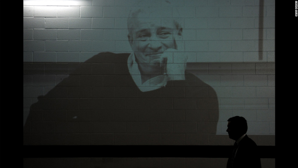 An image of former Baltimore Ravens owner Art Model is displayed in the tunnel before the Ravens take on the Cincinnati Bengals at M&T Bank Stadium on Monday. Modell died on September 6 at  age  87.