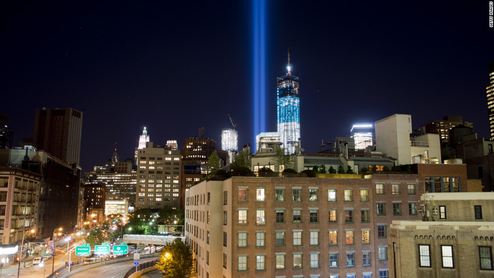 "New York's ""Tribute in Light"" for the victims of the 9/11 terrorist attacks shines into the sky over Manhattan on September 10, 2012."