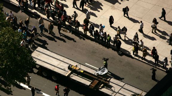 The cross is transported to St. Peter's Church in New York City on October 5, 2006.