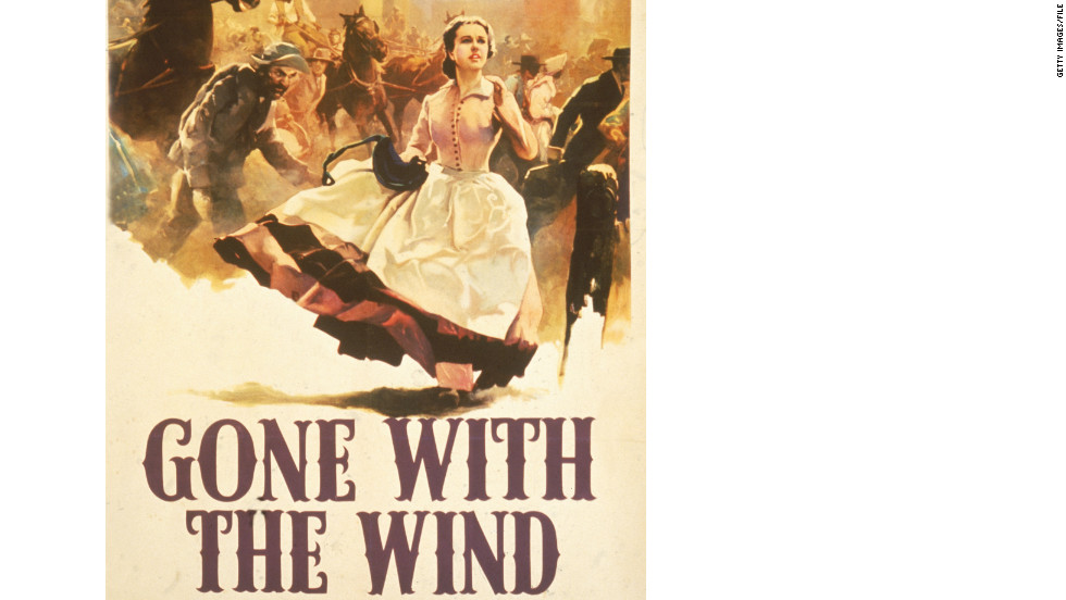 Scarlett O'Hara runs through the street in this promotional poster for the book 'Gone With the Wind,' which is published on June 30, 1936.