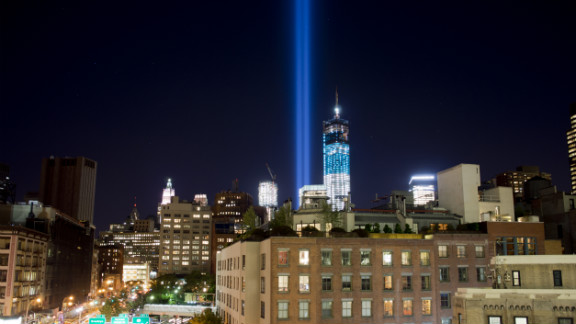 """New York City's """"Tribute In Light,"""" a memorial to the victims of the 9/11 attacks, shines from One World Trade into the sky over Manhattan on Monday, September 10, as they are tested for ceremonies marking the 11th anniversary."""