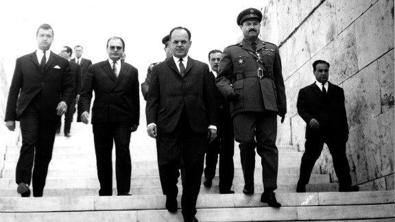 "Kennedy was killed in 1968, a year into what Varoufakis calls the ""dark ages"" of the military dictatorship of Georgios Papadopoulos (C) that lasted from 1967 to 1973."