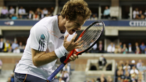Andy Murray of Great Britain reacts during his men