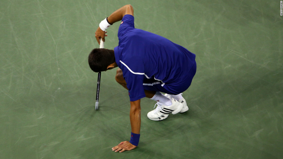Novak Djokovic reacts during his men's singles final match against Andy Murray.