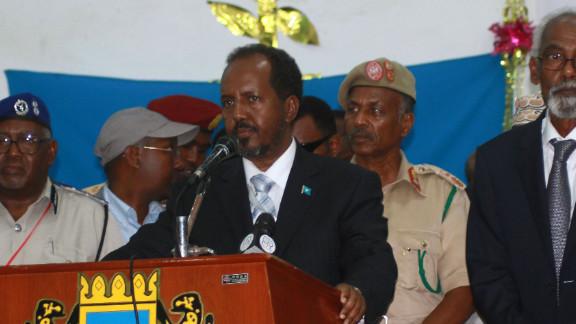 Somalia's new President Hassan Sheikh Mohamud delivers a speech on September 10 in Mogadishu, Somalia.