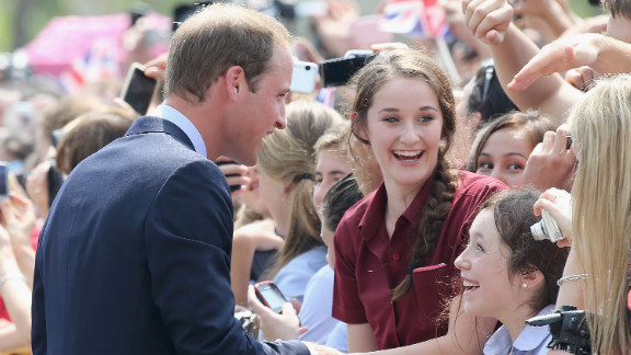 Britain's Prince William, Duke of Cambridge, meets children at Gardens by the Bay Wednesday in Singapore.